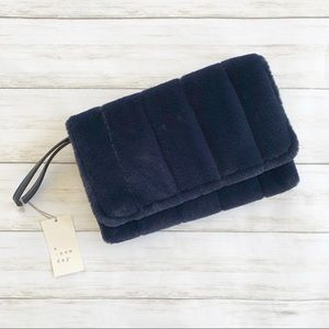NWT a new day Navy Faux Fur Clutch/Wristlet